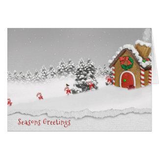 Seasons Greetings-gingerbread house in snow Card