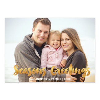 Seasons Greetings gold Christmas Card 13 Cm X 18 Cm Invitation Card