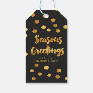 Seasons Greetings gold dots gift tags