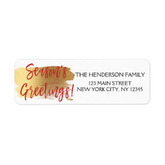 Season's Greetings Gold Foil and Red Christmas Return Address Label