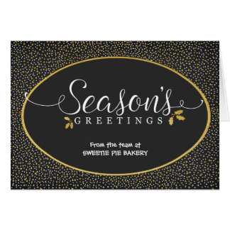Season's Greetings Gold & Holly Business Card