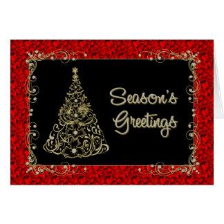 Season's Greetings -Gold Ornate Tree in Red Border Greeting Card