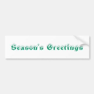 Season's Greetings. Green and White. Custom Bumper Sticker