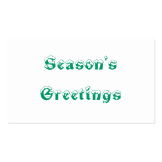 Season's Greetings. Green and White. Custom Business Card Template