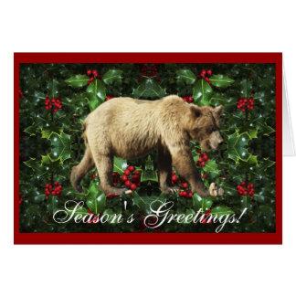 Season's Greetings Grizzly Bear Wildlife Xmas Card
