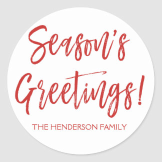 Season's Greetings Hand Lettered Script Christmas Classic Round Sticker