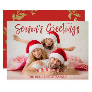 Season's Greetings Hand Lettered Script Photo Card