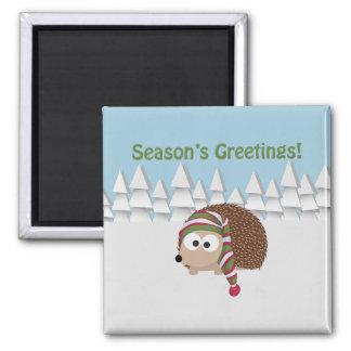 Season's Greetings Hedgehog Refrigerator Magnet