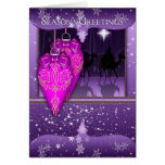 season's greetings holiday card in purple with orn