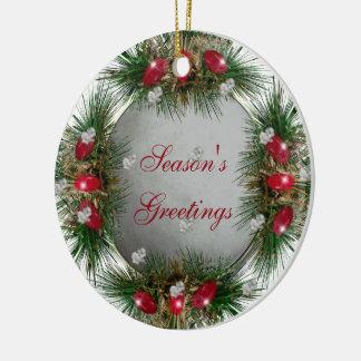 Season's Greetings Holiday Snowball Round Ceramic Decoration