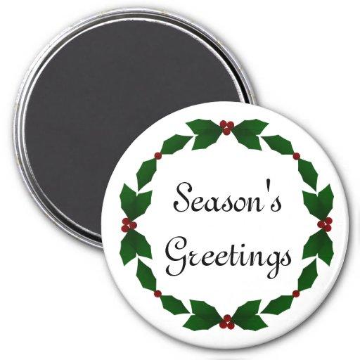 Season's Greetings Holly Christmas Magnet
