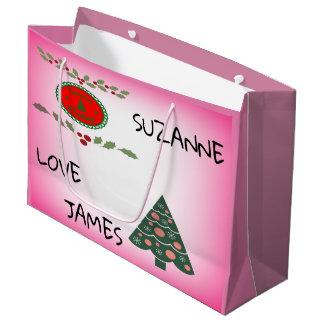 Seasons Greetings Holly Christmas Tree Personalise Large Gift Bag