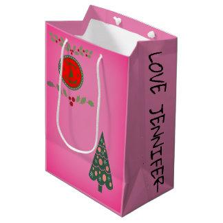 Seasons Greetings Holly Christmas Tree Personalise Medium Gift Bag