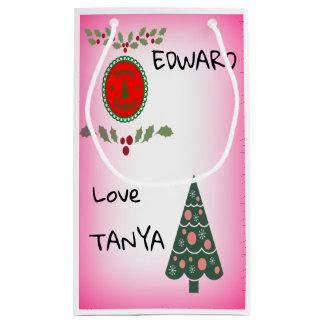 Seasons Greetings Holly Christmas Tree Personalise Small Gift Bag