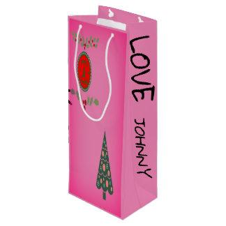 Seasons Greetings Holly Christmas Tree Personalise Wine Gift Bag