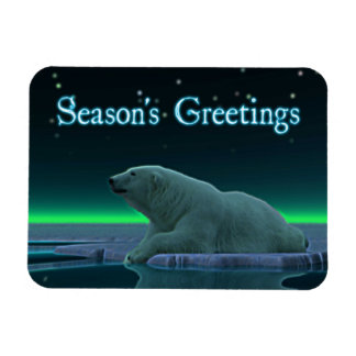 Season's Greetings - Ice Edge Polar Bear Rectangular Photo Magnet