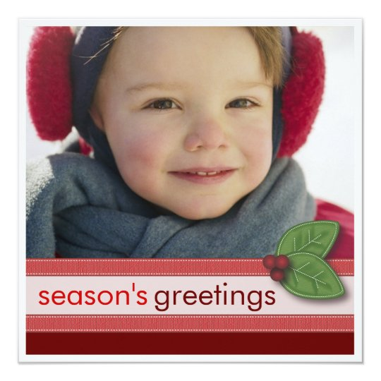 Season's Greetings in Red Square Photo Card