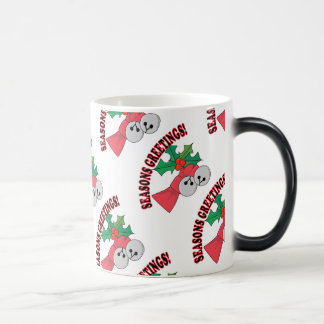 Seasons Greetings Jingle Bells and Holly Magic Mug