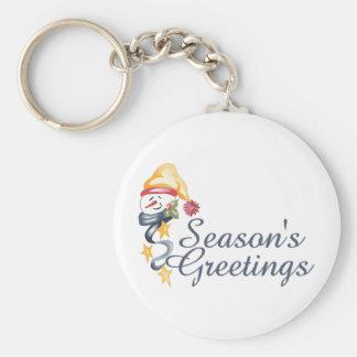 Season's Greetings Basic Round Button Key Ring