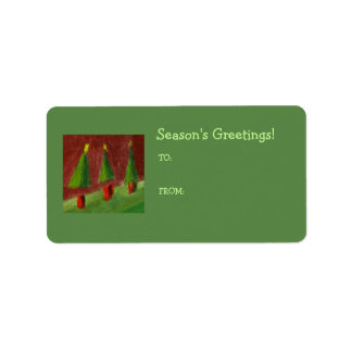 Season's Greetings Landscape Gift Tag Label Address Label