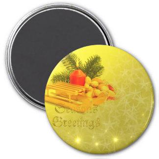 seasons greetings 7.5 cm round magnet