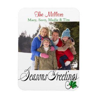 Seasons Greetings Merry Photo Rectangular Magnets