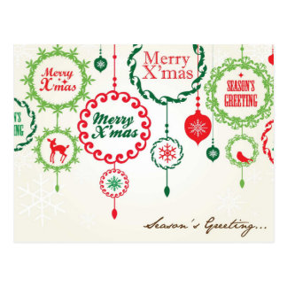 Season's Greetings & Merry Xmas Postcard