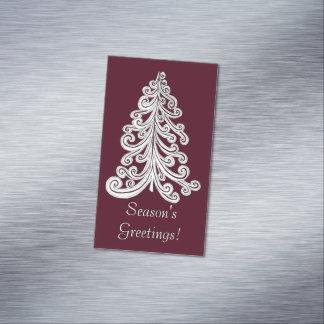 Season's Greetings Modern Christmas Tree Magnetic Business Cards