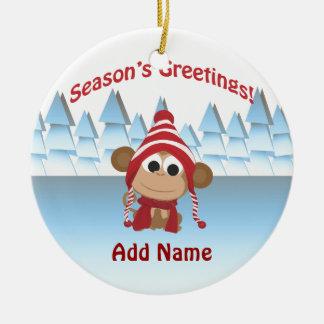 Season's Greetings!  Monkey Christmas Tree Ornament