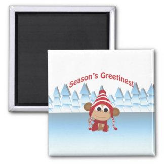 Season's Greetings!  Monkey Refrigerator Magnets
