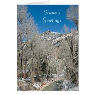 Season's Greetings Mountain Winter Stream Card