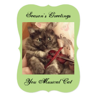 Season's Greetings Musical Cat Card by RoseWrites 13 Cm X 18 Cm Invitation Card