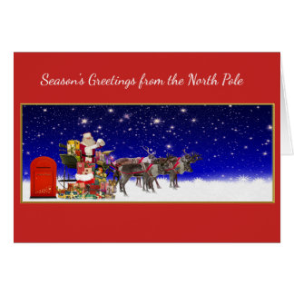Season's Greetings North Pole santa sleigh card