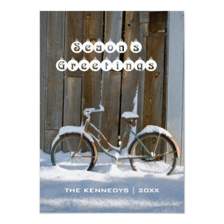 Season's Greetings - Old bicycle covered in snow 13 Cm X 18 Cm Invitation Card