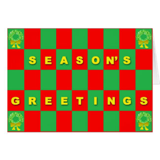 Season's Greetings on Red & Green Check Card