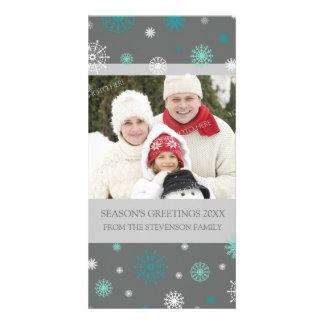 Season's Greetings Photo Card Aqua Grey Snowflakes