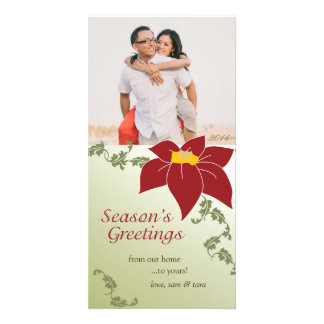 Seasons Greetings Photo Card Poinsettia