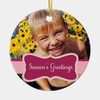 Season's Greetings Photo Christmas Ornament