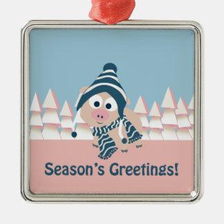 Season's Greetings pig Ornaments