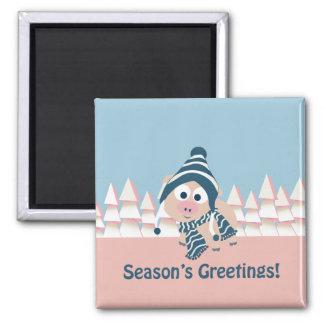 Season's Greetings pig Fridge Magnet