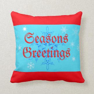 Seasons Greetings Pillow With Elegant Snowflakes