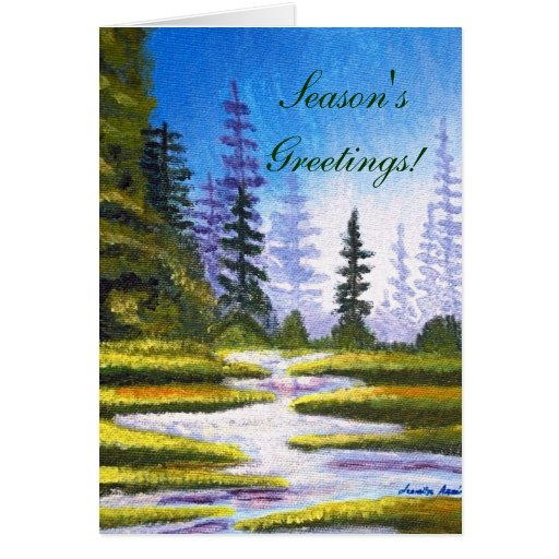 Season's Greetings Pine Forest Painting Card