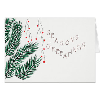 Seasons Greetings Pine Tree and Holly Berries Card