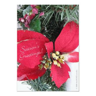 Season's Greetings Poinsettia Invitation