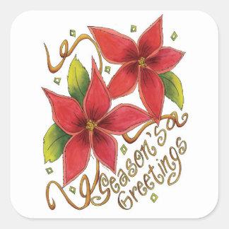 Seasons Greetings Poinsettias Christmas Stickers