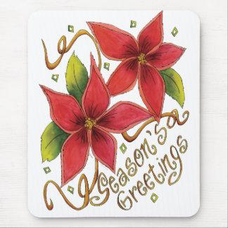 Season's Greetings Poinsettias Mousepads