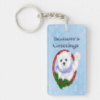 Season's Greetings Polar Bear Acrylic Key Chain