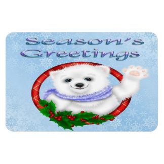 Season's Greetings Polar Bear Flex Magnets