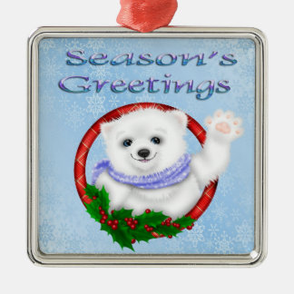 Season's Greetings Polar Bear Premium Square Ornam Silver-Colored Square Decoration