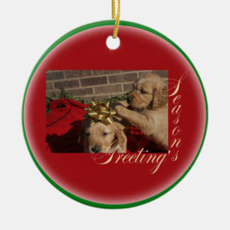 SEASONS GREETINGS PUPPY CHRISTMAS ORNAMENT